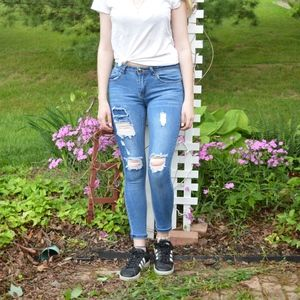 Boohoo Blue Ripped Ankle Jeans